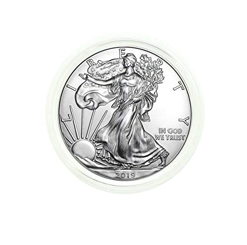 2019 - American Silver Eagle in Plastic Air Tite with our Certificate of Authenticity Dollar Uncirculated Us Mint (Coin Half Cases Dollars Holders)