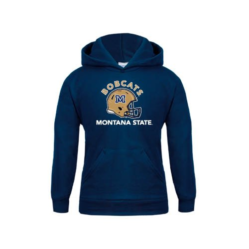 Montana State Youth Navy Fleece Hoodie Arched Bobcats w// Football Helmet Montana State