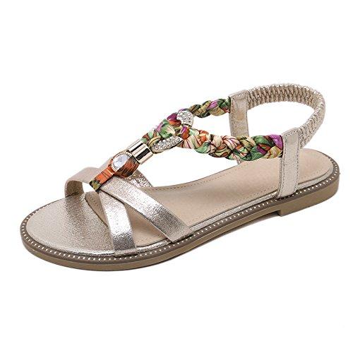 de Metal Aire Zapatos de al YMFIE Verano Moda Decorativos D Rhinestone Libre de Antideslizante Espina Playa tejiendo Moda de de Sandalias Pescado Informal qaXEfEw