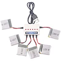 YouCute 6PCS 650mah Battery and 1to6 Charger for TOZO X8tw Q1012 Focus FPV Drone QQPOW X8 Rc Quadcopter Spare Parts (6PCS 650mAh batteries +charger)