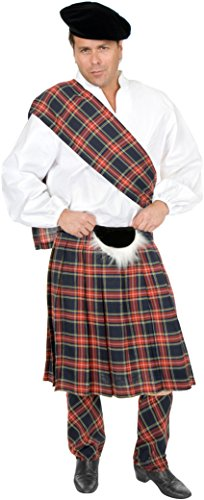 Charades Men's Plus Size Scottish Kilt, Navy Blue Plaid, 3X