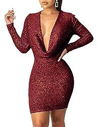 Off Shoulder Wine-Red Sequin Dress Deep V Neck & Long Sleeve
