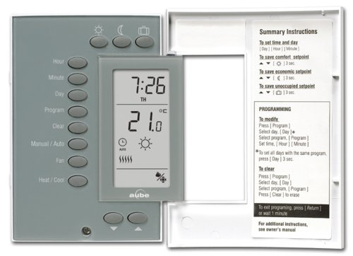aube by honeywell th141hc 28 b u heat and cooling 7 day programmable rh amazon com Aube Programmable Thermostat Aube TH115 Series