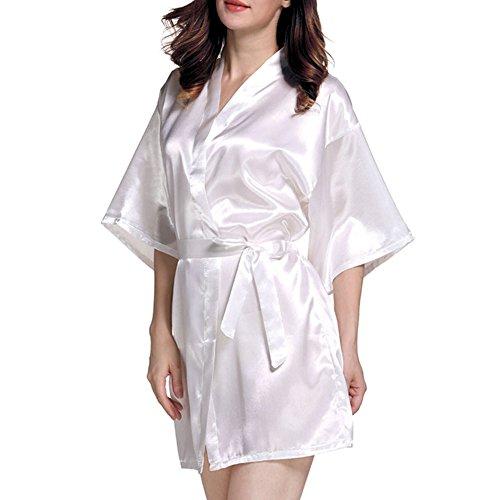 (YeeHi Nightgown Robe Women's V Neck 3/4 Sleeve Sleepwear Mid-Length Dressing Gown Satin Nightdress)
