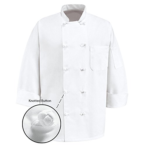 350 Chef Apparel 10 Knot Button Chef Coat-Easy-Care Twill,White,X-Small