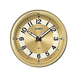 Casio IQ-61-9 Stylish Timekeeping in a Gold Round Analog Wall Clock
