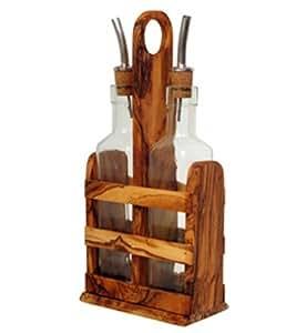 Aceitera & vinagrera Set de aceitunas dispensador de madera y cristal de Mastro Leonardo–Mano de Italia (essigflasche/Aceitera/vinagrera con boquilla)