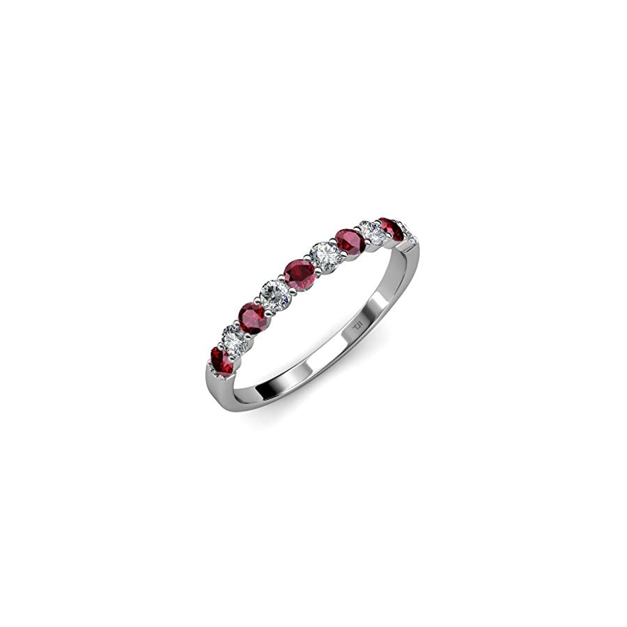 TriJewels Ruby and Diamond (SI2 I1, G H) 10 Stone Wedding Band 1.05 ct tw in 14K Gold