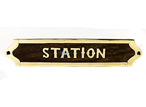 Nagina International Station Handcrafted Premium Wood & Brass Inlaid Door Sign | Designation Tittle Plaque Decor & Gift - Handcrafted Wood Plaque