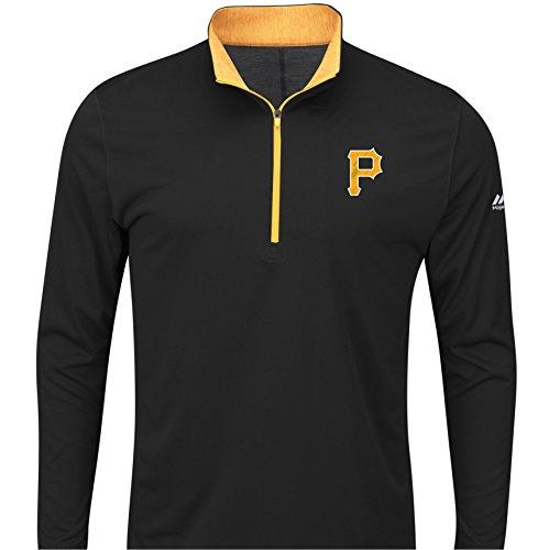 Men's Pittsburgh Pirates Black Big & Tall Check Swing Performance 1/4 Zip Pullover Fleece Sweatshirt 5XL ()