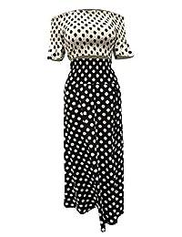 Falda sexy de lunares para dama, 2 piezas, con hombros descubiertos, mangas con volantes, parte superior y falda alta dividida, talla grande
