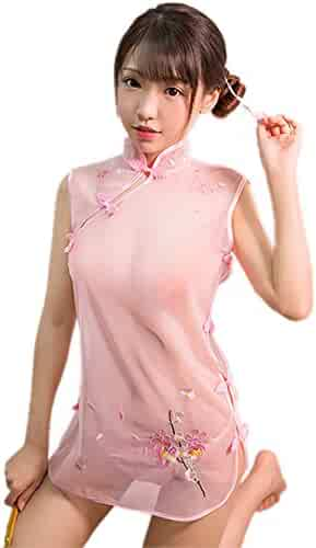 fcdd39b32 TOMORI Womens Chinese Cheongsam Lingerie Sexy See Through Cosplay Sleepwear  Anime Underwear