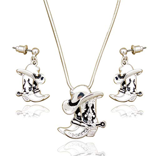 - RechicGu Silver Western Texas Cowgirl Cowboy Hat Stetson Boot Spur Rodeo Snake Chain Earrings Necklace Set