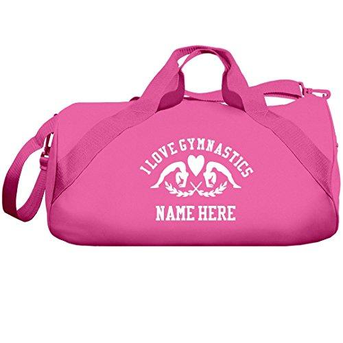 I Love Gymnastics Custom Name Gift: Liberty Barrel Duffel Bag by Customized Girl