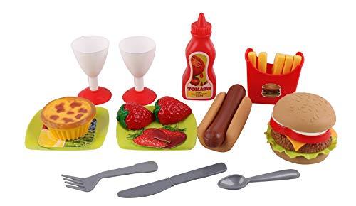 Pasaca Toys Kids Plastic Fast Food Toys, Hamburger, Hotdog, Fries, Drinks, Stawberry, Tart, Sauce Assortment Toy 14PCS