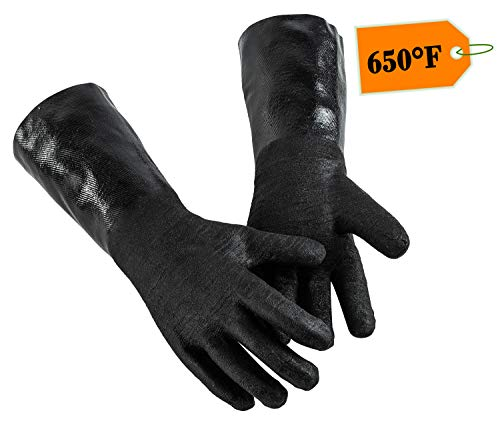 prepmen BBQ high Heat Resistant Grilling Gloves - Insulated Waterproof Grill Mitts for Meat shredding Oven Baking Barbecue, Fryer Cooking Accessories - 1 Pair, 14 inches - Resistant Heat High Gloves