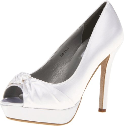Dyeables Women's Ada Platform Pump,White Satin,8.5 B US -