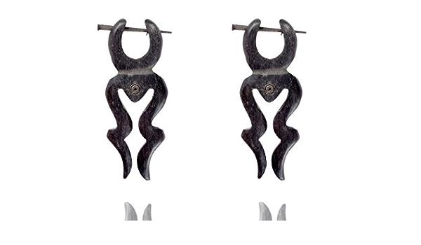 Tibetan Tribal Handmade Carving Love Design Bone Stick Earring White WER236