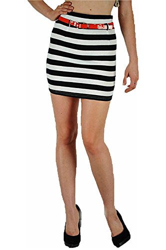 Skirt Mini S M L Nautical Navy Blue White Striped Red Patent Belt Jersey Sexy (Large, Navy Blue/White)