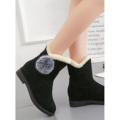 Heel Winter Toe Shoes Boots Calf Boots EU39 Women's Wine Round 5 Mid PU CN40 UK6 Comfort Casual US8 For Snow Boots Flat Bowknot Black RTRY 5 Ptqzw