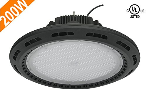 CY LED 200W UFO LED High Bay Lighting, UL Listed, 400W HPS/MH Bulbs Equivalent, 22500lm, Waterproof, Daylight White, 6000K, 120¡ã Beam, Super Bright Commercial Lighting, LED High Bay Lights by CYLED