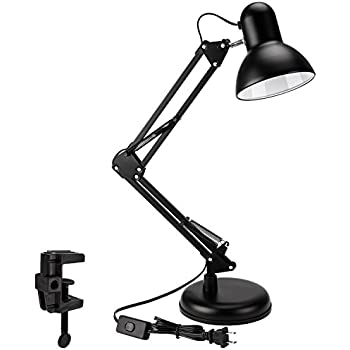Metal Swing Arm Desk Lamp, Interchangeable Base Or Clamp, Classic Architect Clip On Table Lamp, Multi-Joint, Adjustable Arm, Black Finish