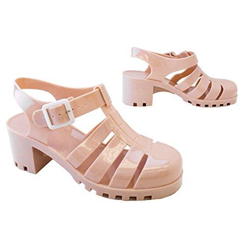 PDR S44-1 New Women Summer Retro Jelly Slingback Strappy Heel Rain Sandals 10 US