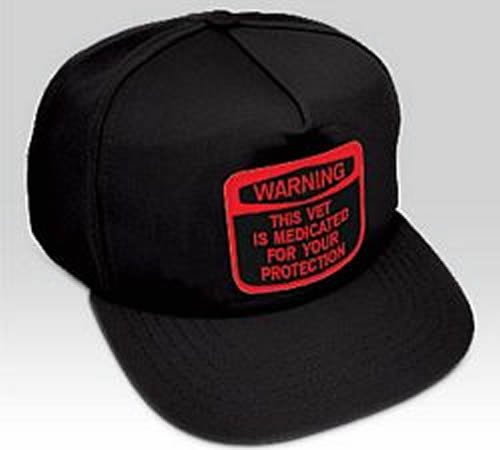 Amazon.com  Warning This Vet Is Medicated for Your Protection Hat ... bb9c9d03b34c