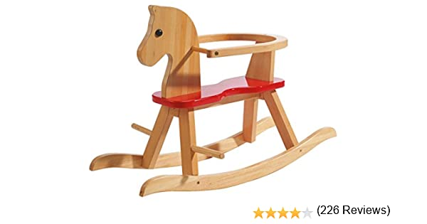 Caballo de balancín roba, juguete balancin acabado en madera maciza natural y laca roja, caballo balancin para niños pequeños con anillo protector desmontable.: Amazon.es: Juguetes y juegos