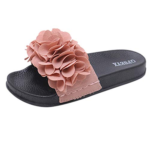 (Toimothcn Slides Sandals Women Indoor and Outdoor Flower Sandals Slipper Beach Shoes (Pink,US:7.5))