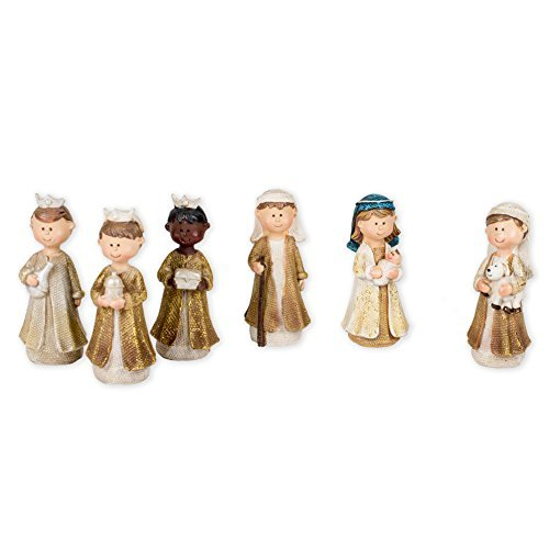 6 Pc Childs Gold 4 Inch Nativity