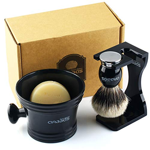 - Anbbas Shaving Set,Silver tip Badger Shaving Brush Resin Alloy Handle,Black Acrylic Shaving Stand and Bowl Stainless Steel with 100g Natural Shaving Soap 4in1 Kit for Men
