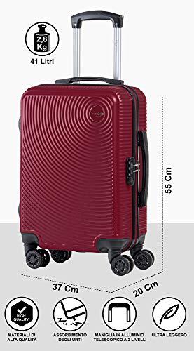 CABIN GO 5512 Valigia Trolley ABS, bagaglio a mano 55x37x20, Valigia rigida, guscio duro e antigraffio con 8 ruote… 2 spesavip