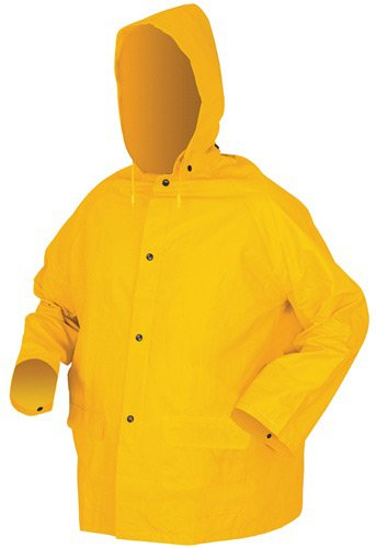 MCR Safety 2403S Classic Plus PVC/Polyester 3-Piece Corduroy Collar Rain Suit with Detachable Hood and Bibpant, Yellow, Small by MCR Safety (Image #3)