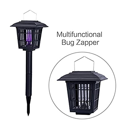 YIER Solar-Powered Outdoor Insect Killer/Bug Zapper/Mosquito Killer- Hang or Stick in the Ground - Dual Modes - Bug Zapper & Garden Light Function …