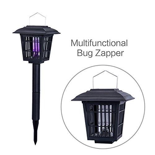 YIER Solar-Powered Outdoor Insect Killer/Bug Zapper/Mosquito Killer- Hang or Stick in the Ground - Dual Modes - Bug Zapper & Garden Light (Bug Zapper)