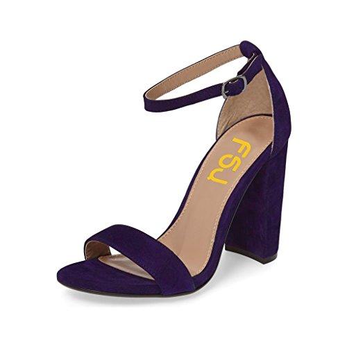 Fsj Mujeres Classic Open Toe Sandalias Chunky Heels Sandalias De Tacón De Aguja Zapatos Tamaño 4-15 Us Purple