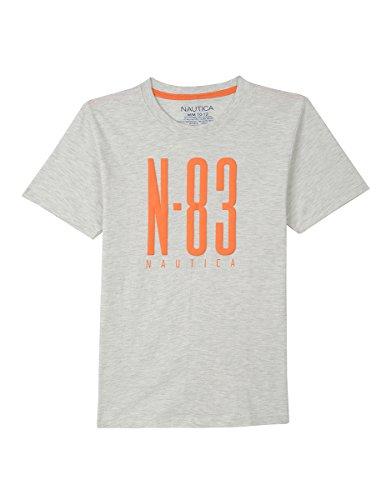 Nautica Boys' Big Short Sleeve Logo Graphic T-Shirt, Oat Heather, Large (14/16)