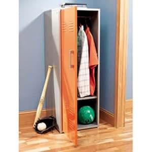 Kids Orange Storage Locker Cabinet in Silver Finish - Teen Trends Collection