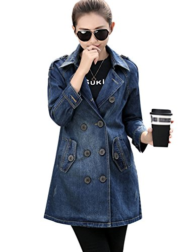 Tanming Women's Double Breasted Long Denim Jean Trench Coat Jacket (Large, Blue)