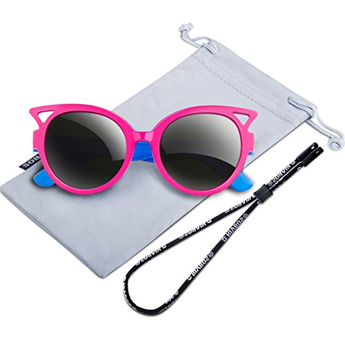 RIVBOS Rubber Kids Polarized Sunglasses With Strap Glasses for Boys Girls Baby and Children Age 3-10 RBK002 (rose red)