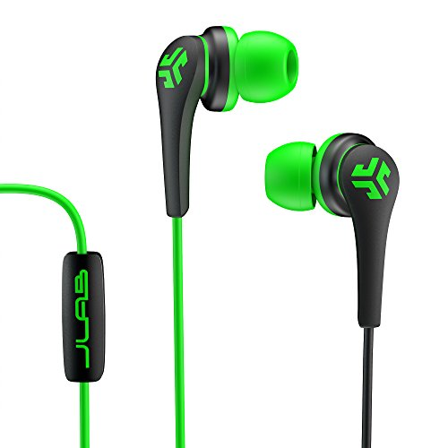 JLab Audio Core Hi-Fi Noise Isolating earbuds with Mic and Cush Fin Technology, Guaranteed Perfect Fit, GUARANTEED FOR LIFE - Green/Black