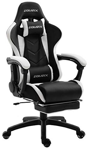 Dowinx Gaming Chair Ergonomic Office Recliner for Computer with Massage Lumbar Support, Racing Style Armchair PU Leather E-Sports Gamer Chairs with Retractable Footrest (Black&White)