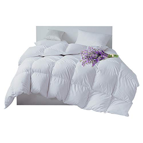 Flower Power Twin Comforter - Warm Kiss Home Natural White Goose Down Comforter Duvet Insert Lavender Scented 300 TC, 600 Fill Power, Twin Size All Season Down Proof Shell Hypoallergenic