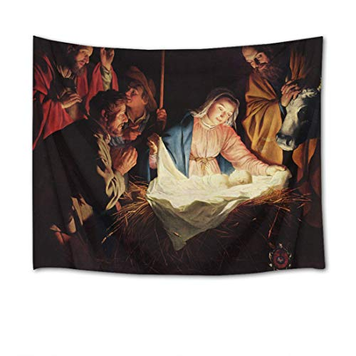 LB Christmas Tapestry Wall Hanging The Birth of Jesus Christ Religious 3D Watercolor Tapestry Wall Blanket Wall Art Wall Decor Christian Tapestry for Bedroom Living Room Dorm,80 x 60 Inches
