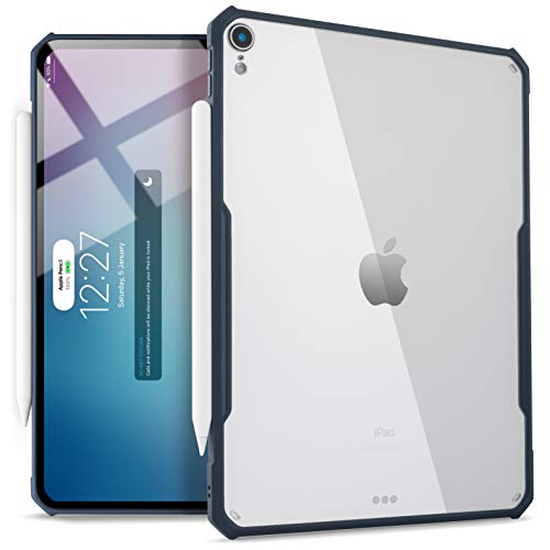 TineeOwl iPad Pro 12.9-inch (2018 Release, 3rd Generation) Ultra-Slim Clear Case, Supports Apple Pencil Wireless Charging [Absorbs Shock] Flexible TPU, Lightweight by (Navy Blue)
