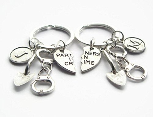 Partners In Crime Keychains ~ 2 Best Friends Keyrings, Shovel Keychains, Personalised BFF, Couples Set, Quirky Initial Gift, Birthday Token