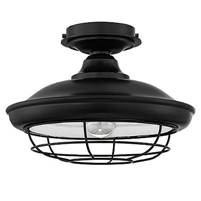 Designers Impressions Charleston Matte Black Semi-Flush Mount Ceiling Light Fixture: 10002