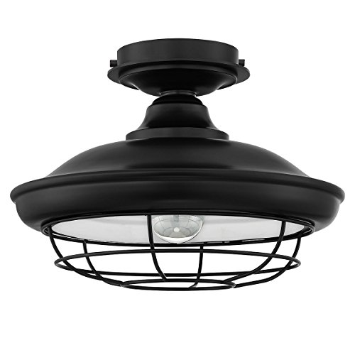 (Designers Impressions Charleston Matte Black Semi-Flush Mount Ceiling Light Fixture: 10002 )