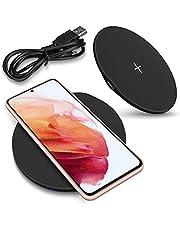 NAmobile Qi trådlös snabbladdningsstation 15 W kompatibel med Samsung Galaxy S21 5G laddare induktiv universalladdare, färg: svart
